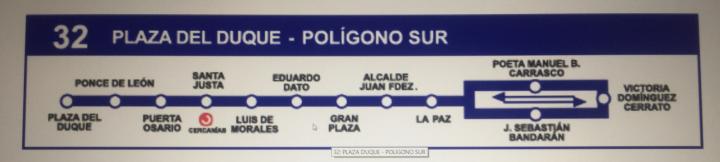 スペイン観光:セビリア 市内バス32番ルートマップ
