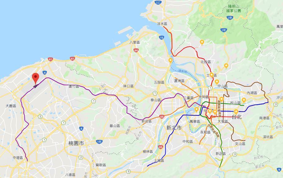 台湾桃園国際空港から台北市内への移動(マップ)