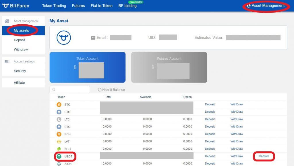 BitForex USDT両替