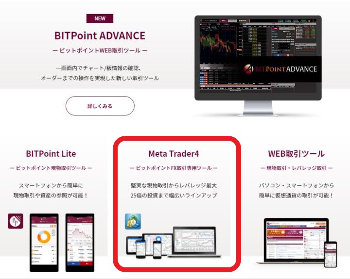BITPoint 取引ツールの特徴 MetaTrader