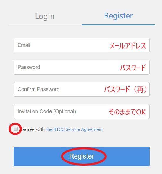 BTCC ユーザ登録