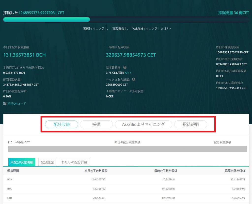 CoinEx 指値マイニング画面