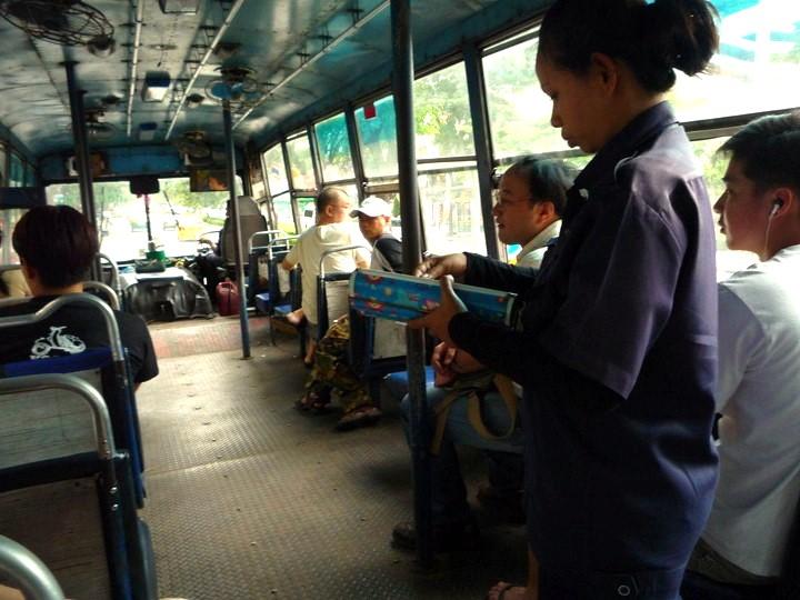 バンコク 路線バス おばちゃんから切符購入