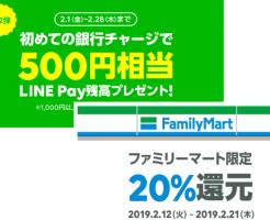 LINE Payも初めてチャージで500円相当プレゼント!銀行チャージは1000円でOK。ファミマで20%還元も開催