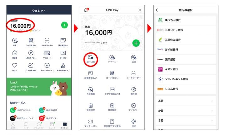 LINE Pay 初めてチャージで500円もらう!銀行口座登録方法