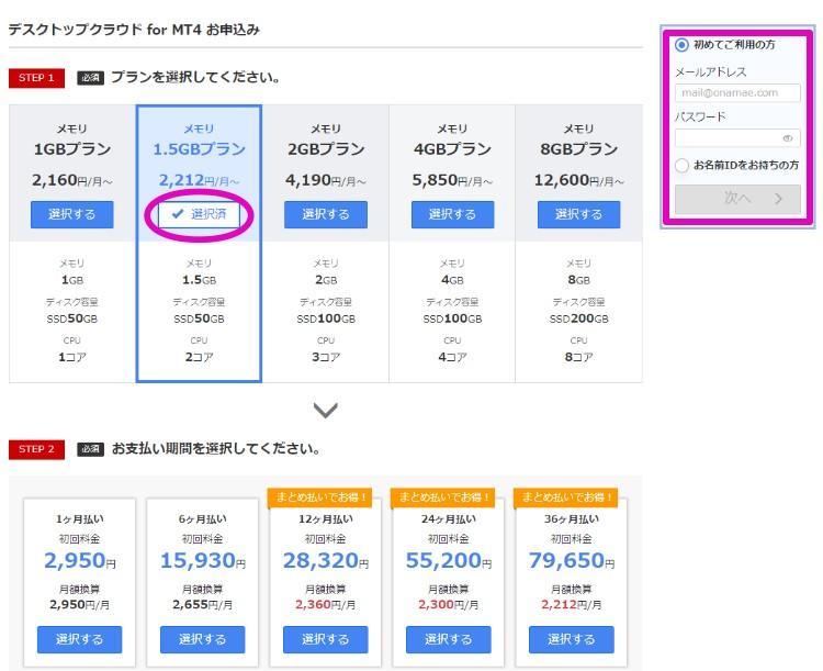 お名前.comデスクトップクラウド for MT4 料金設定