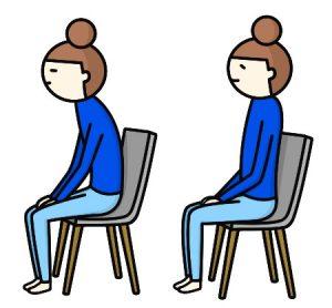 左:悪い姿勢(ストレートネック)、右:正しい姿勢
