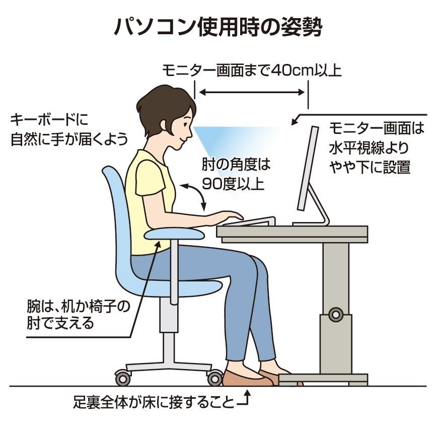 パソコン仕事の正しい姿勢・目線