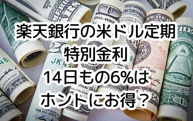 楽天銀行、米ドル外貨定期預金14日もの金利6%ってお得?!外貨預金の手数料に要注意
