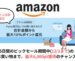 【12/1迄】Amazon Paidy 翌月払いで最大10%ポイント還元、毎月最大3000pt還元!プラム会員限定