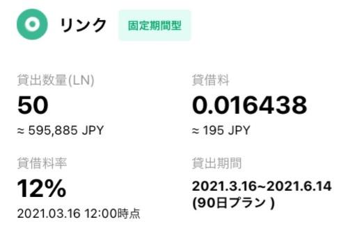 BITMAX 貸仮想通貨サービス(LINK貸出し)
