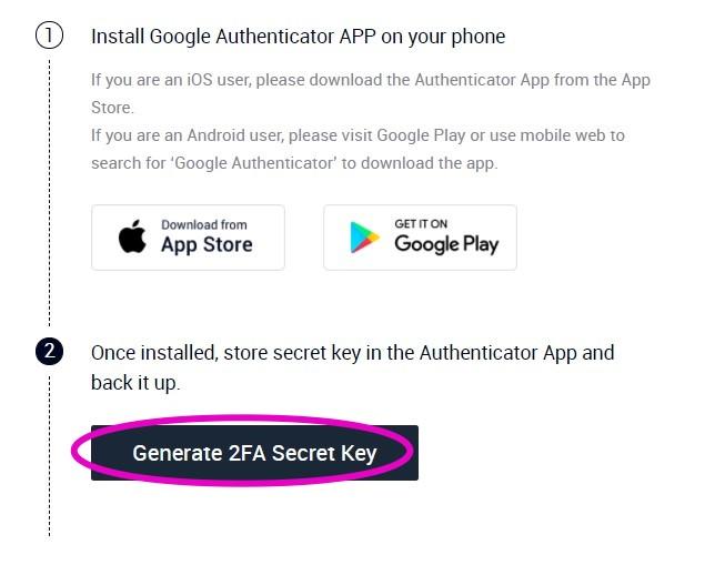 AscendEXのセキュリティ設定:Google 2FA